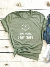 Casual Heart Print Short Sleeve T Shirt