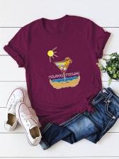 Fashion Print Short Sleeve Pullover Tee
