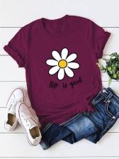 New Flower Print Crew Neck Tee