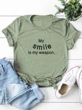 Letter Casual Plus Size T Shirt