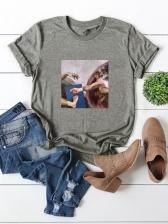 Popular Print Short Sleeve T Shirt