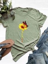Sunflower Crew Neck Plus Size Tee