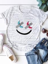 Smile Print Loosen Pullover T Shirt