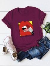 Loosen Print Crew Neck Pullover Tee