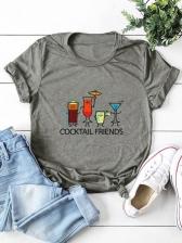 Plus Size Print Short Sleeve T Shirt