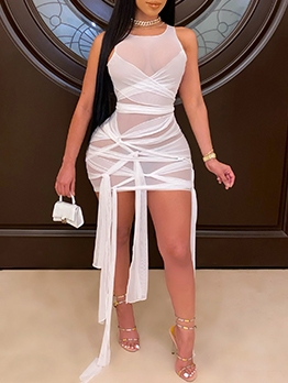 Plus Size Gauze Sleeveless Bodycon Dress