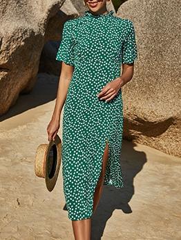 Euro Slit Printed Short Sleeve Midi Dress