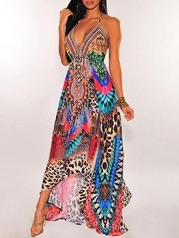 Sexy Vacation Style V Neck Print Camisole Dress