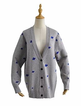 Button Down Jacquard Weavecardigan For Women