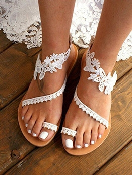 Fashion Lace Solid Flat Summer Sandals