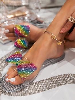 Colorful Rhinestone Bow Ladies Slippers