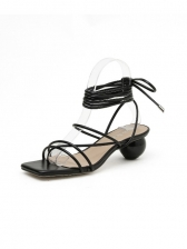Square Toe Lace-Up Heeled Sandals For Women