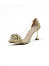 Pointed Toe Rhinestone Slip On Heels For Women