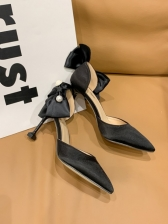 Pointed Toe Bow Design High Heel Shoes