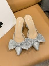 Bow Rhinestone Decor Goblet Heeled Slippers