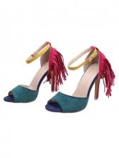 Peep-Toe Tassels Decor Sandals For Women