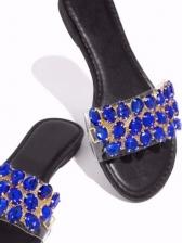 Rhinestone Decor Round Toe Womens Slippers
