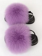 Solid Faux Fur Beach Sandals For Kids