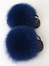 Casual Beach Faux Fur Slippers For Girls