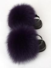 Children Solid Fluffy Round Toe Sandals