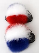 Contrast Color Faux Fur Kids Summer Sandals