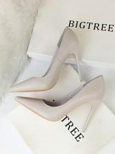 Korean Style Solid Slip On Stiletto