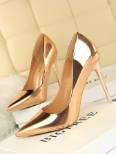 Euro Pure Color Pointed Toe Pumps Shoes