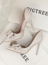 Sweet Bow Decor Pointed Toe Stiletto