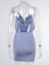 Sexy Backless Chain Halter Mini Dress