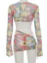Sexy Irregular Print Three Piece Skirt Sets