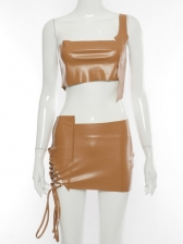 One Shoulder Pu Top With Mini Skirt