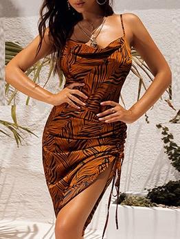Sexy Animal Printed Side Drawstring Ladies Dress