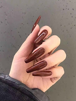 Chic Wine Red 24 Pieces False Nail Patch