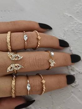 Rhinestone Easy Matching Golden Ring Sets