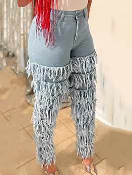 Euro Tassels Solid Ladies Jeans