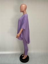 Solid Color V Neck Two Piece Pants Set