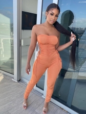 Sexy Hollow Out Ruched Strapless Jumpsuit