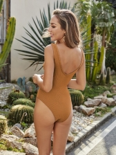 Fitted Belted Solid One Piece Swimsuit