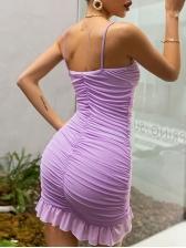 Ruffled Hem Gauze Patchwork Camisole Summer Dresses