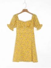Square Neck Puff Short Sleeve Dresses For Women