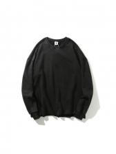 Simple Pure Color Long Sleeve Mens Sweatshirts