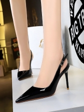 Pointed Toe Pure Color Stiletto Shoes