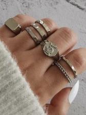 Geometry Vintage Stylish Unisex Rings Sets