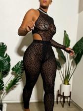 Gauze Design One Shoulder Sexy Bodysuits Pants Sets