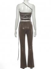 Irregular One Shoulder Backless Pu Two Pieces Pants Set