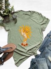 Contrast Color Loosen Short Sleeve T Shirt