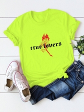 Rose Letter Plus Size Crew Neck Tee