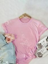 Dolphin Print Loosen Short Sleeve T Shirt