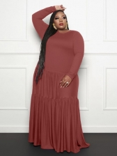 Casual Solid Loosen Plus Size Maxi Dress