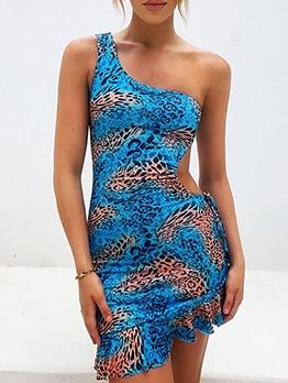 Inclined Shoulder Leopard Sleeveless Summer Dresses